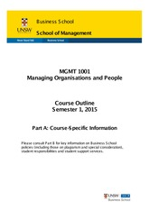 MGMT1001 - Course Profile (Part A) S1 2015