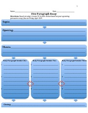 essay five graphic organizer paragraph