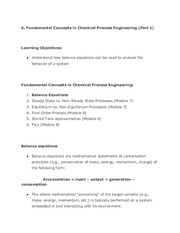 Fundamental Concepts in Chemical Process Engineering Pt.1 Notes