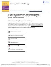 Computer games can get your brain working student experience and perceptions of digital games in the