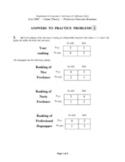 Game Theory Solutions to Practice Problems