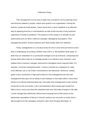 Reflective essay on management course intelligence essay competition