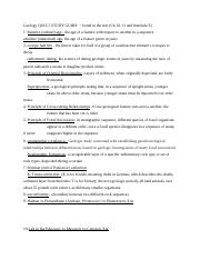 Geology QUIZ 5 STUDY GUIDE  - found in the text (Ch 10, 11 and Interlude E).docx