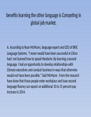 benefits learning the other language is Competing in