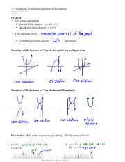 7.1  Graphing Non-Linear Systems of Equations