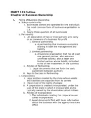 MGMT 153 Chapters 4 & 5 Outline