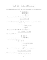 MATH 220 - Section 8.5 Indical Equation Problems and Solutions