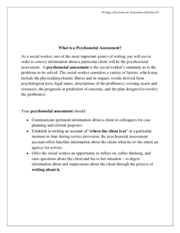 1 What is a Psychosocial Assessment