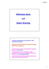 Millenium Goals and Global Warming