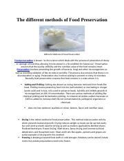 The different methods of Food Preservation