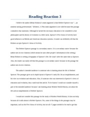 "Reading Reaction 3: Herbert Spencer was ""…an  amateur among professionals"