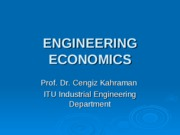 ENGINEERING ECONOMICS-ı