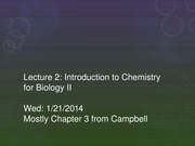 Lecture 2 - Chemistry Intro for Biology 2