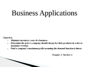 Presentation: Business Applications