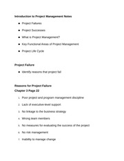 Introduction to Project Management Notes