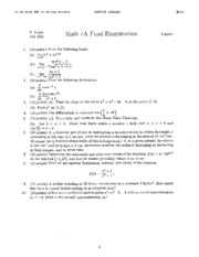 Math 1A - Fall 2001 - Vojta - Final