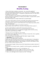 Module 4 Health Note Sheet Healthy Eating