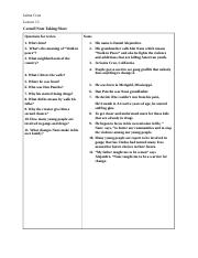 Cornell Note Taking Sheet 1 lesson 13
