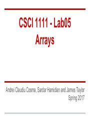 Lab05- Arrays