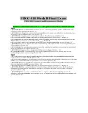 PROJ 410 Week 8 Final Exam - Questions & Answers.doc