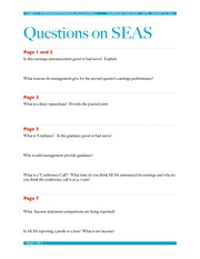 UGBA 102AA Sea World Earnings Questions