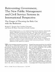Kearney, R. and Hayes, S. (1998). Reinventing government, the new public management and civil servic
