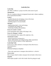 Leadership Notes