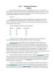 Chapter 7 - Comparison of Means - ANOVA