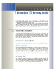 15 Deterministic EOQ Inventory Models
