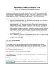Discussion Question Outline - Instructor Modified APA Format.docx