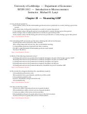 CH 20 Measuring GDP - Testbank
