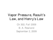 Lecture 3--Vapor Pressure, Raoult's Law, and Henry's