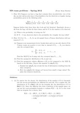 Statistics and Probability Exam Spring 2012