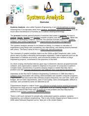 0- Systems Analysis - Concepts Overview.doc