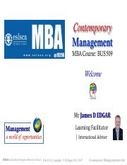 A1-Contemporary Management BUS 509 — A54W - JDE - Lecture ONE  (SHORT 28.01.2017)