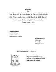 The Role of Technology in Communication-cover page