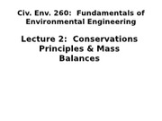 CE 260 2012 - Lecture 2 Conservation principles and mass balances