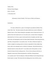 "Paper on ""Five Days At Memorial"""
