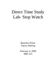 Direct Time Study Lab