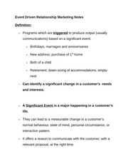 Event Driven Relationship Marketing Notes