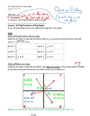 4.4 Trig Functions of Any Angle