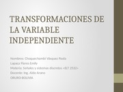 TRANSFORMACIONES DE LA VARIABLE INDEPENDIENTE