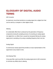 Glossary of Digital Audio Terms
