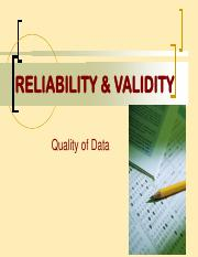 9-RELIABILITY_VALIDiTY