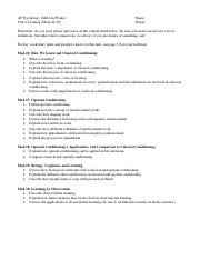 Unit 6 Study Guide Learning 2014