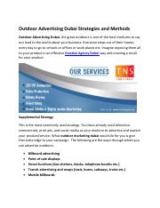 Outdoor Advertising Dubai Strategies and Methods