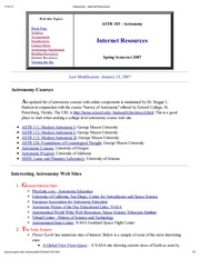 Astronomy - Internet Resources