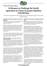 PANG 2015 10 Reasons to to Challenge the Pacific Agreement on Closer Economic Relations PACER Plus