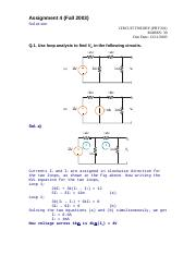 Circuit Theory - PHY301 Fall 2003 Assignment 04 Solution