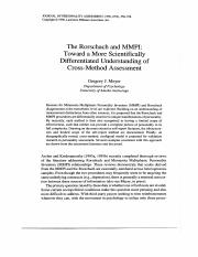 Meyer 1996 - The Rorschach and MMPI-Toward a More Scientifically Differentiated Understanding of Cro